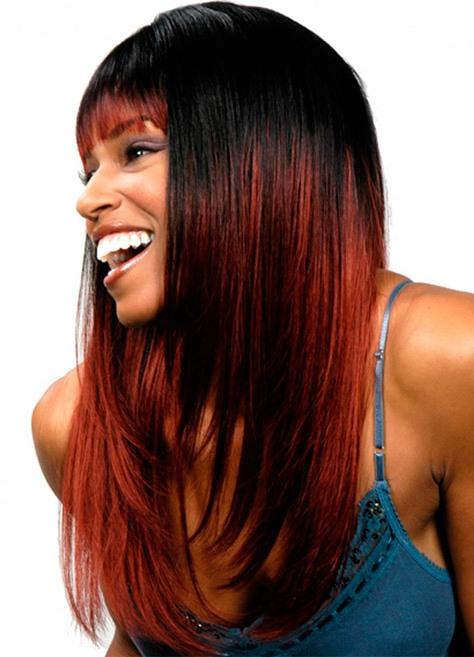 Как на черные волосы сделать красные пряди на 578