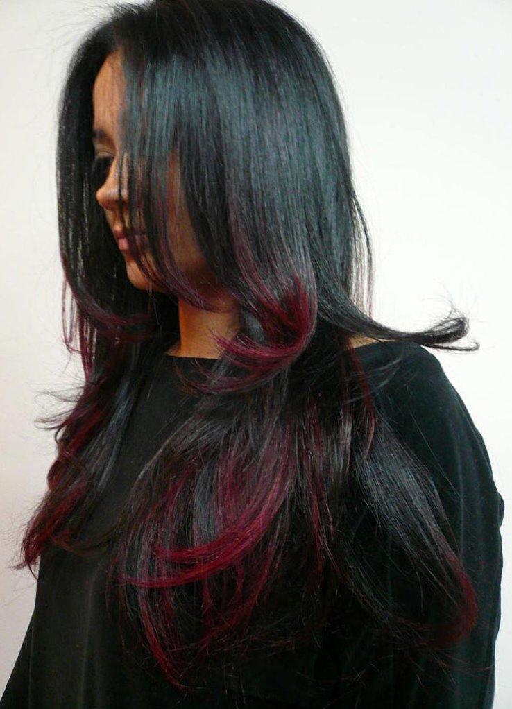 Как на черные волосы сделать красные пряди на 979