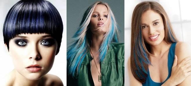 Голубые пряди на темных волосах