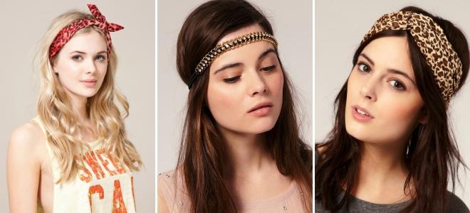 Модный тренд: повязки и ленты для длинных волос