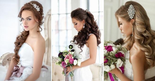 Свадебные прически с диадемой и фатой на распущенные волосы фото