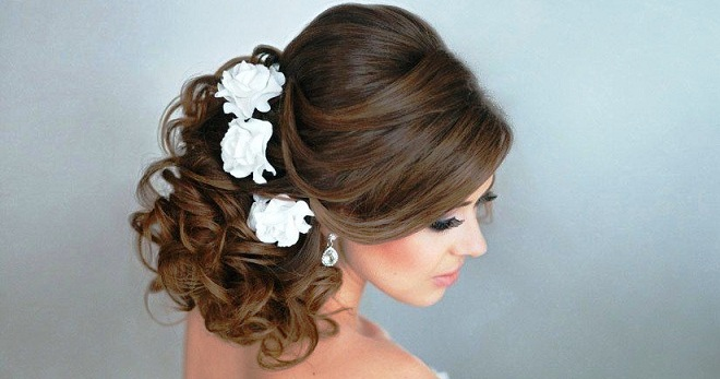 Фото свадебных причесок на длинный волос с челкой 11