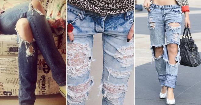 fab29324efe Модные женские рваные джинсы 2017 – с дырками и потертостями ...