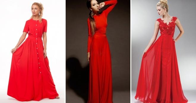 1075c130dedd Красное платье в пол – самые модные и красивые вечерние и повседневные  наряды