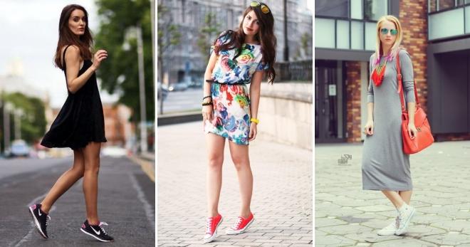 9b687e459a9 Как носить платье с кедами – спортивное и оверсайз