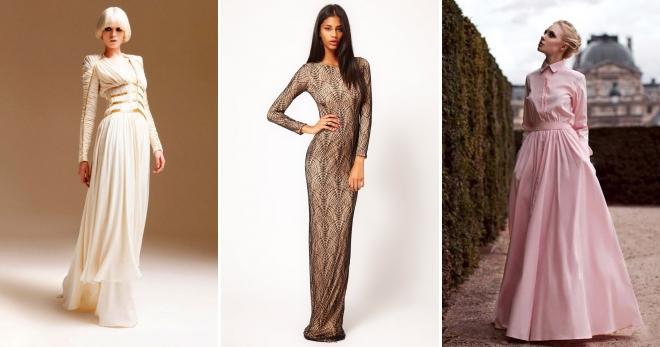 35759e76229 Платье в пол с длинным рукавом – самый женственный наряд для современной  модницы