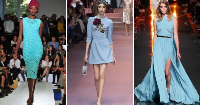 Голубое платье – модный наряд небесных оттенков