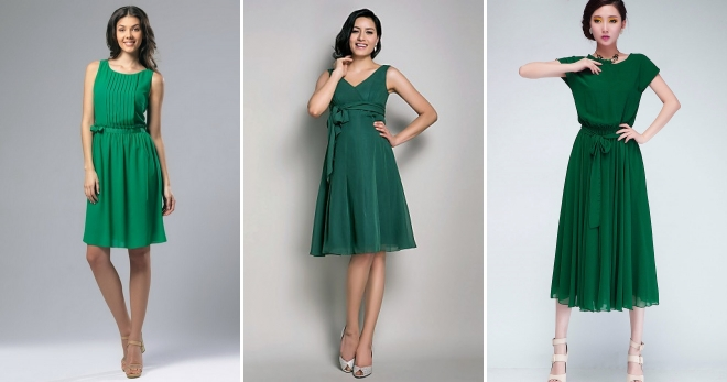 Зеленое платье – подборка модных фасонов и образов