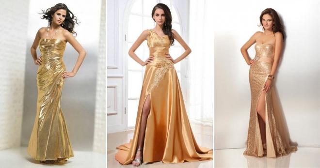 34d95a8093eccc9 С чем носить золотое платье – длинное в пол и короткое мини ...