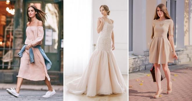 Бежевое платье – лучшие модели нюдовых оттенков