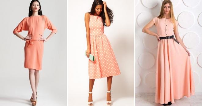 Персиковое платье – кому подойдет и с чем носить?