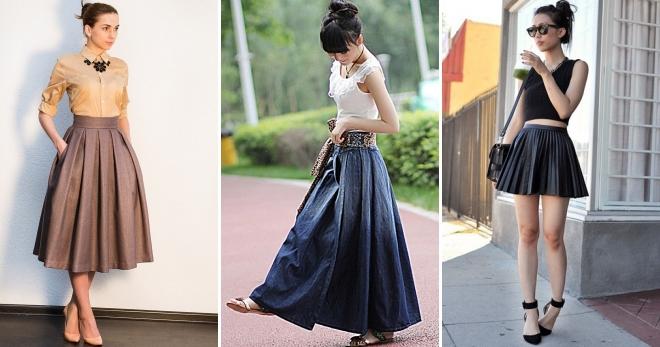 e968e7950ebde30 Модная женская юбка в складку – солнце, полусолнце, трапеция, прямая ...