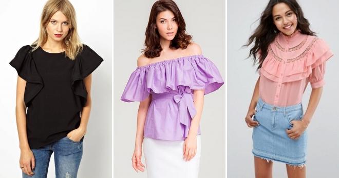 Блузка с воланами – какие модели бывают и с чем их носить?