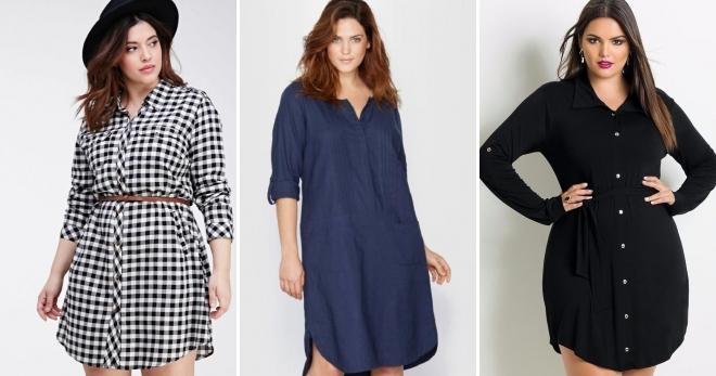 cb8ab6c05c1 Модное платье-рубашка для полных женщин – короткое