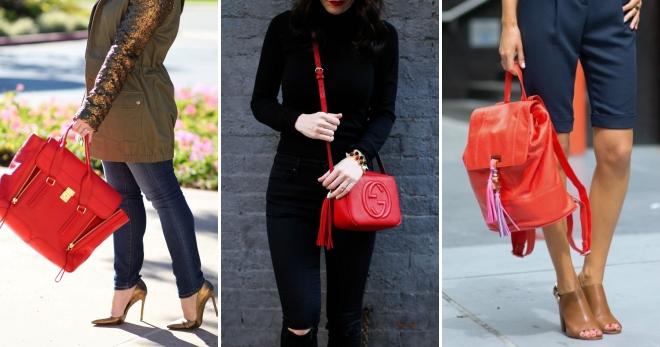 Красная сумка – какие модели бывают и с чем носить?