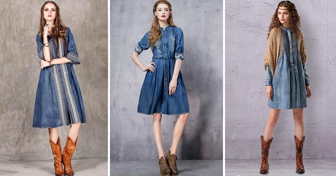 b8a927a63bf Джинсовое платье-рубашка − самые модные модели и с чем носить