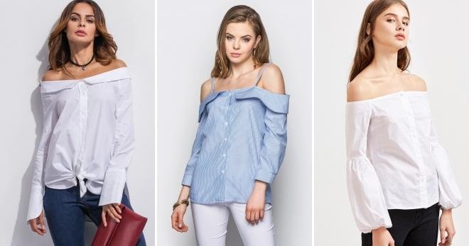 49a23d73844 Стильная женская рубашка с открытыми плечами – красивая длинная ...