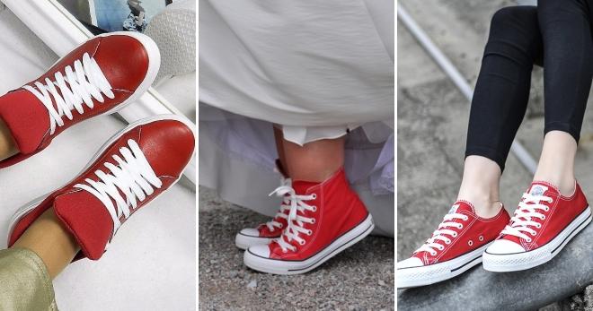 Женские красные кеды – с чем носить и как создать стильный образ?
