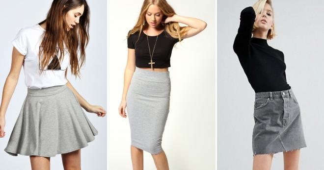 Серая юбка – с чем носить и как создать модные образы?