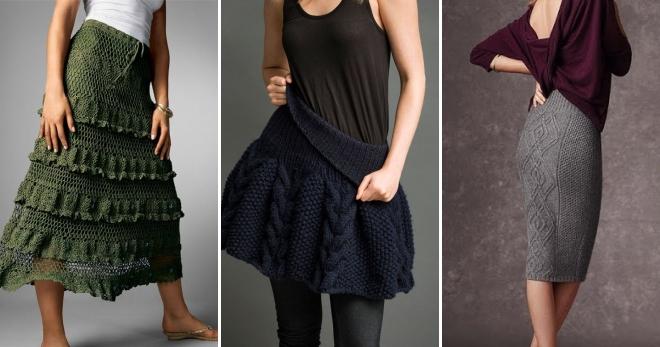 стильные вязаные юбки летние зимние теплые годе плиссе