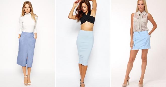 Голубая юбка – с чем носить и как создавать модные образы?