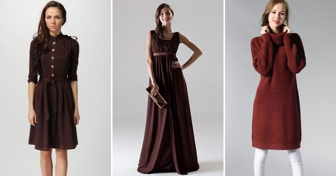Коричневое платье – с чем носить короткое, миди и длинное платье?