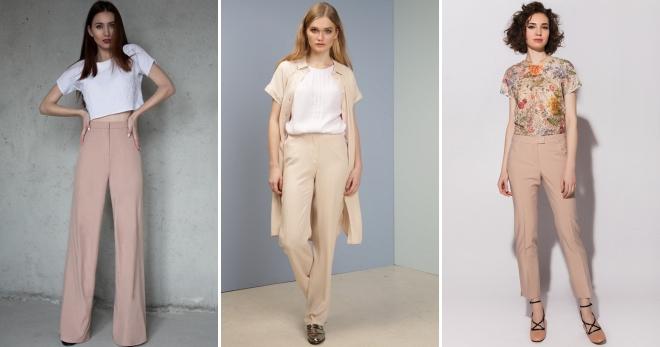 Бежевые брюки – лучшие классические и молодежные образы