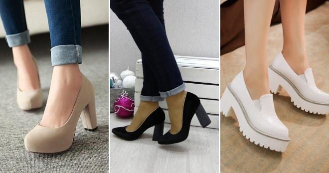 ea29c61cc Туфли на толстом каблуке – подборка модных образов с красивыми туфлями