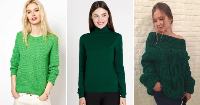 Зеленый свитер – самые модные модели и с чем их носить?
