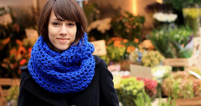 женский шарф снуд вязаный трикотажный ажурный объемный