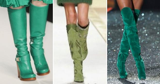 Зеленые сапоги – с чем носить и как создавать модные луки?