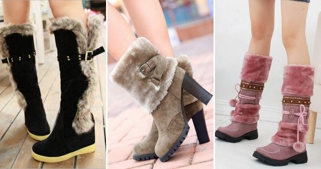 8a5f0d1f Модные женские зимние сапоги с мехом – кожаные, замшевые, резиновые ...