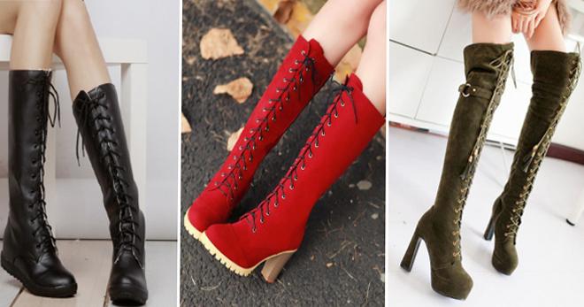 a8e532a97122 Высокие сапоги на шнуровке – подборка фото самых модных моделей этого сезона