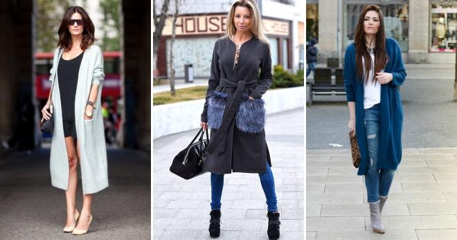 e05e1415ce965 С чем носить модные женские пальто-кардиган – трикотажные, вязаные ...
