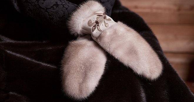 красивые женские меховые варежки из норки длинные вязаные