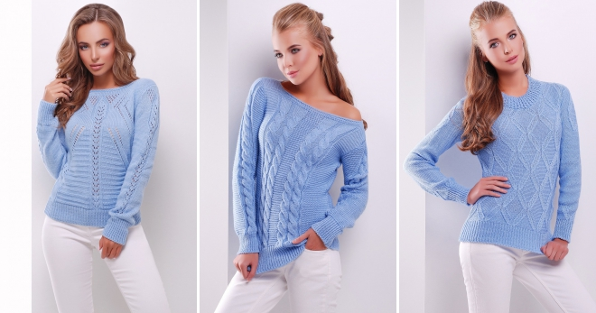 Голубой свитер – 36 фото самых модных моделей этого сезона