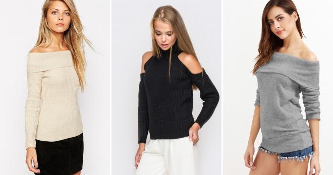 Джемпер с открытыми плечами – с чем носить такой свитер и как создать стильный образ?