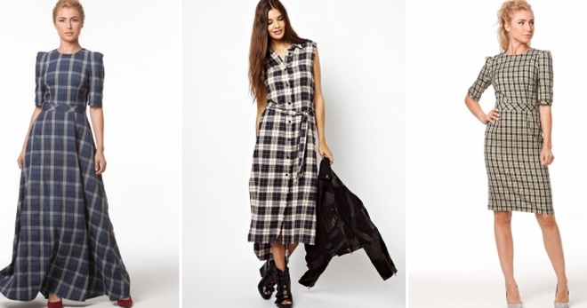 Клетчатое платье – 40 модных образов в платье в клетку на все случаи жизни