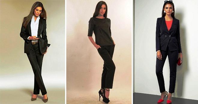 Женский черный костюм – с чем носить и как создать стильный образ?