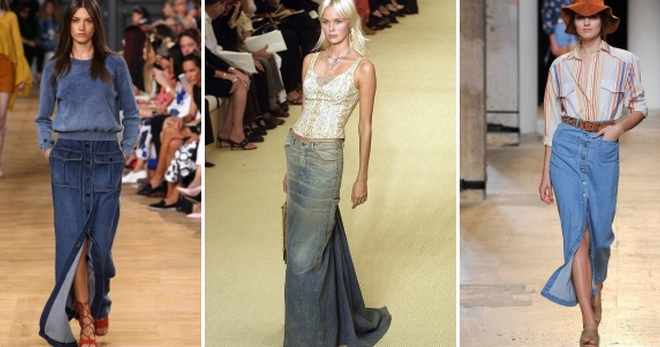 Длинные джинсовые юбки – с чем носить и как создавать стильные образы?