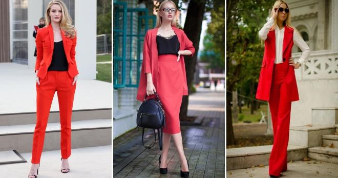Красный костюм – 36 фото стильных образов на любой вкус в костюме красного цвета