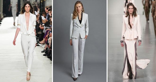 Женский белый костюм – 106 фото стильных образов на все случаи жизни