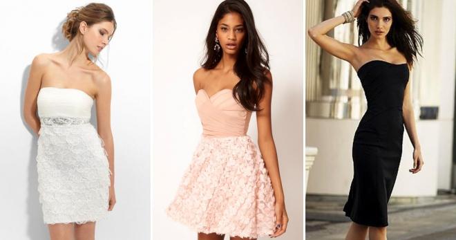83b4b59f0c1 Платье без бретелек – 52 фото модных праздничных и свадебных образов