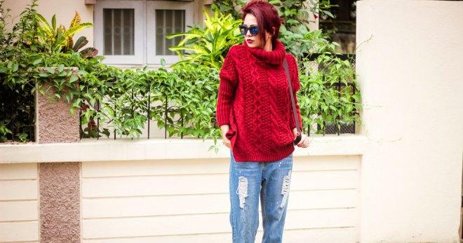 Красный свитер – самые модные модели и с чем их носить?