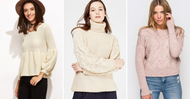 Бежевый свитер – самые модные модели и с чем их носить?