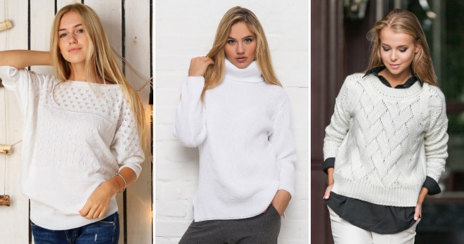 146bd8bd726c Модный женский белый свитер – вязаный, короткий, длинный, с косами ...