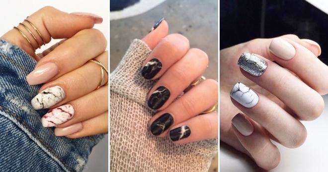 Мраморный маникюр 2019: модные идеи мраморного дизайна ногтей, тенденции, фото