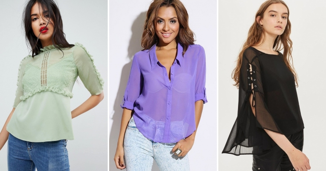 Шифоновые блузки – модные фасоны с коротким и длинным рукавом