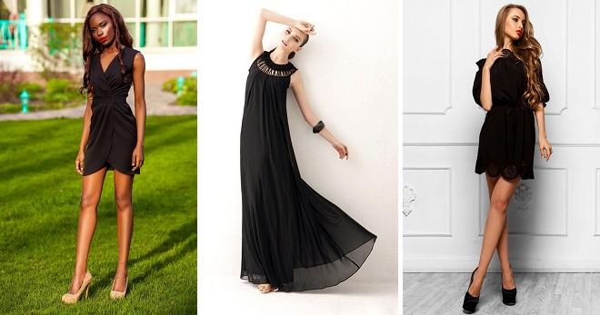 0b15cf10955e52e Стильное черное летнее платье – длинное, в пол, короткое, футляр ...