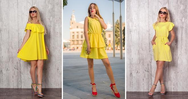 b7134e2bbab6d10 Стильное желтое летнее платье – короткое, длинное, в пол, в горошек ...